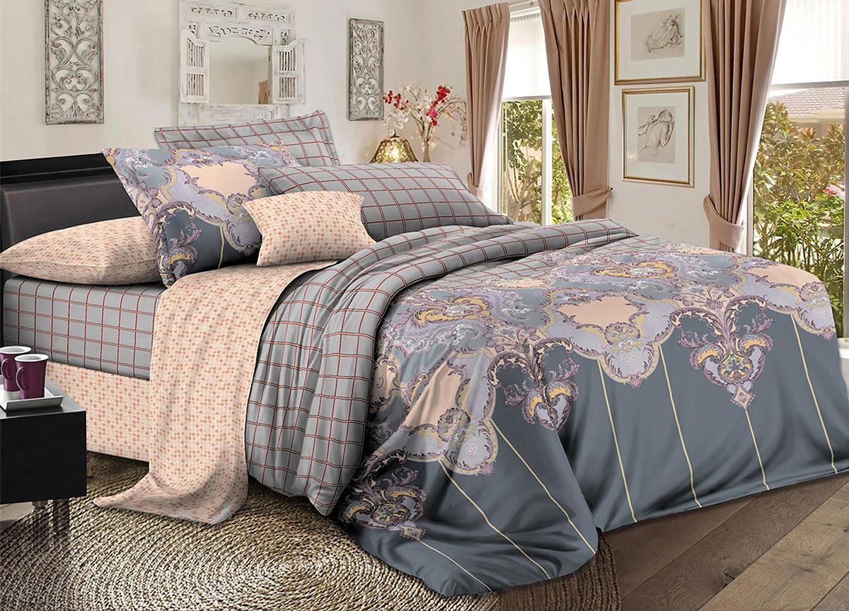 Комплект белья Primavera Винтаж, 1,5-спальный, наволочки 70x70, цвет: серый. 3534S комплект белья primavera classic брасика 1 5 спальный наволочки 70x70 цвет серый