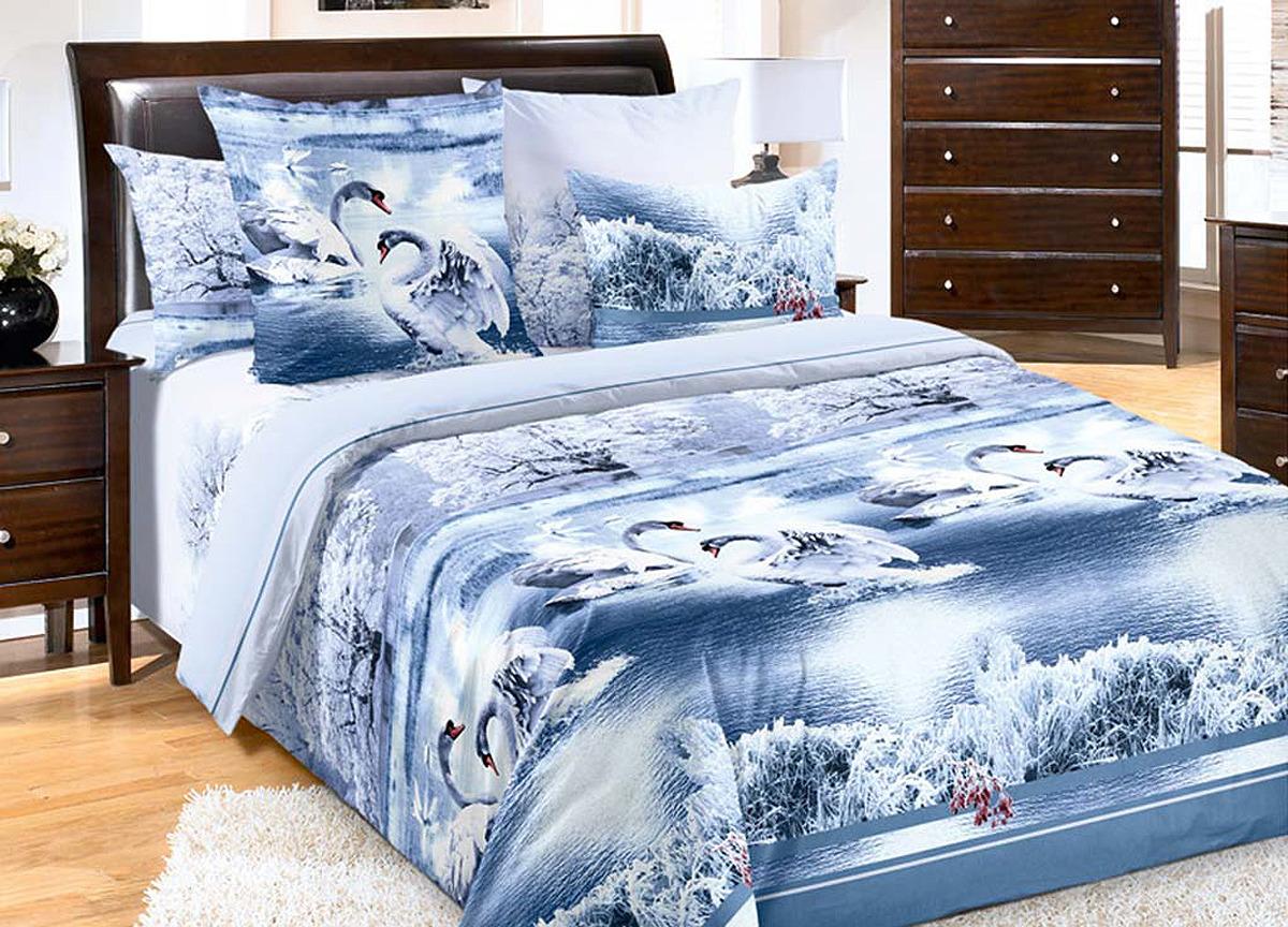 Комплект белья Primavera Лебединое озеро, 2-спальный, наволочки 70x70, цвет: голубой. 19301/5 комплект белья primavera classic брасика 1 5 спальный наволочки 70x70 цвет серый