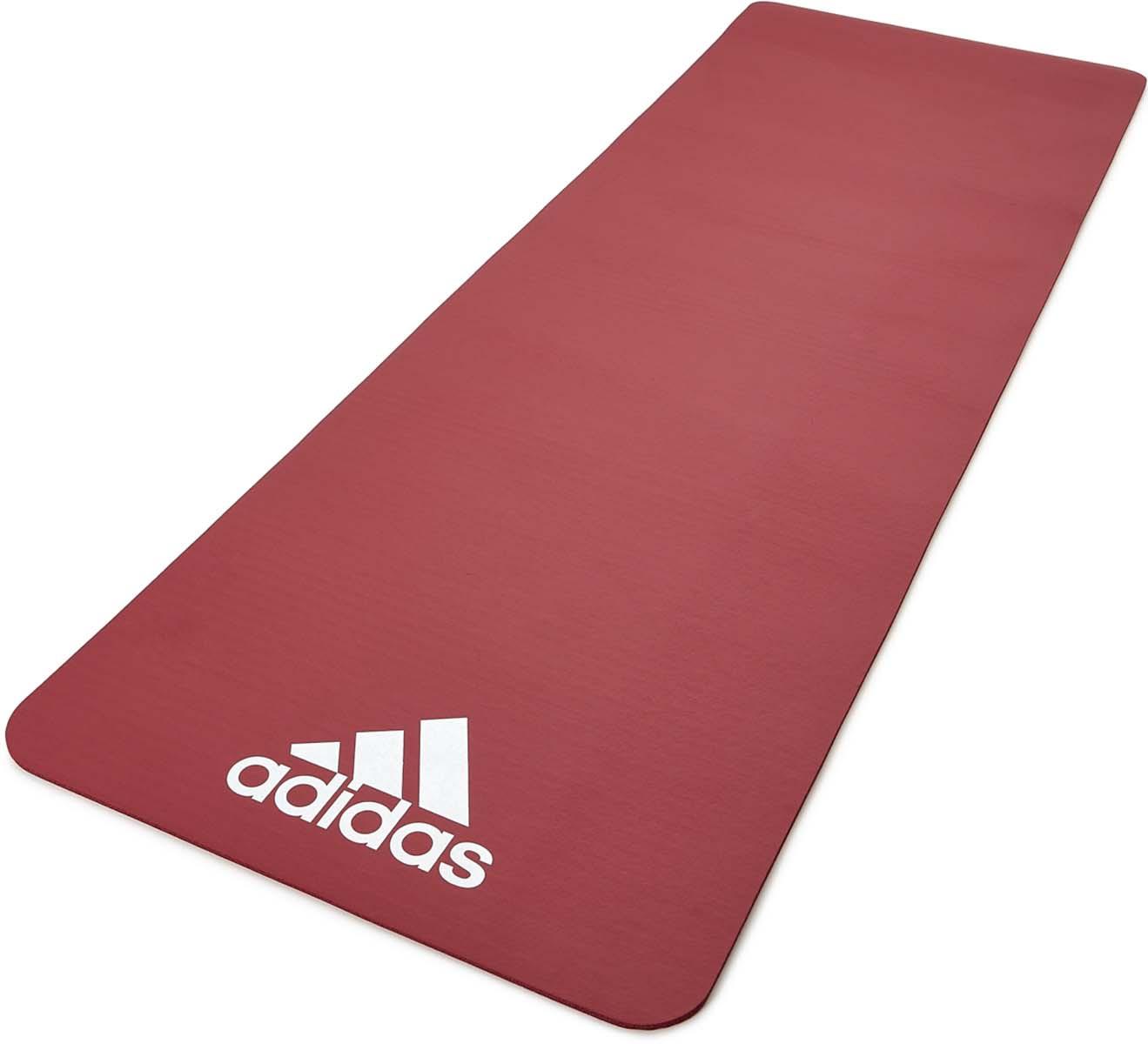 Коврик тренировочный для фитнеса Adidas, цвет: красный, толщина 7 мм, длина 173 см
