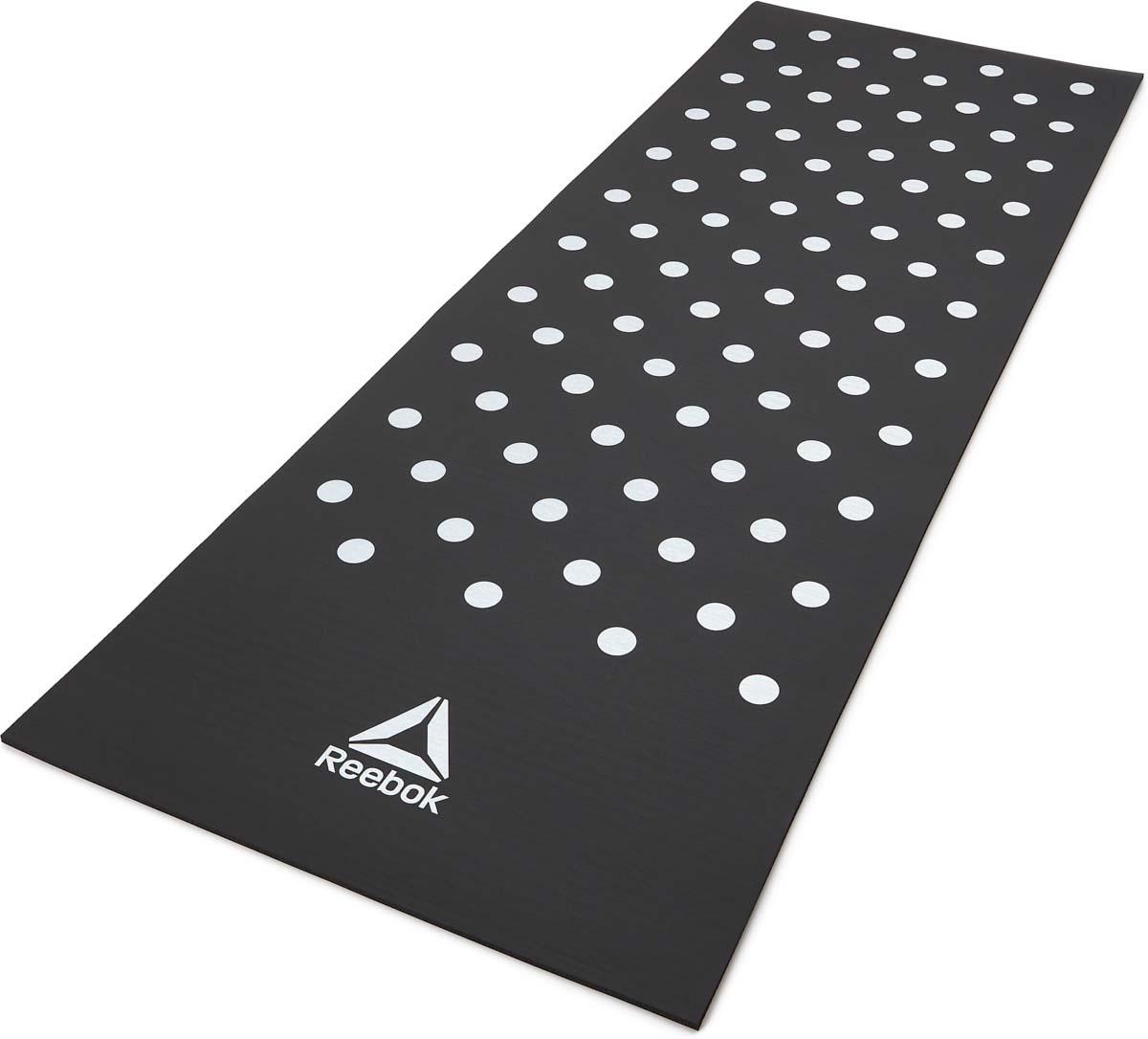 Коврик тренировочный для фитнеса Adidas, цвет: черный, толщина 7 мм, длина 173 см, Reebok