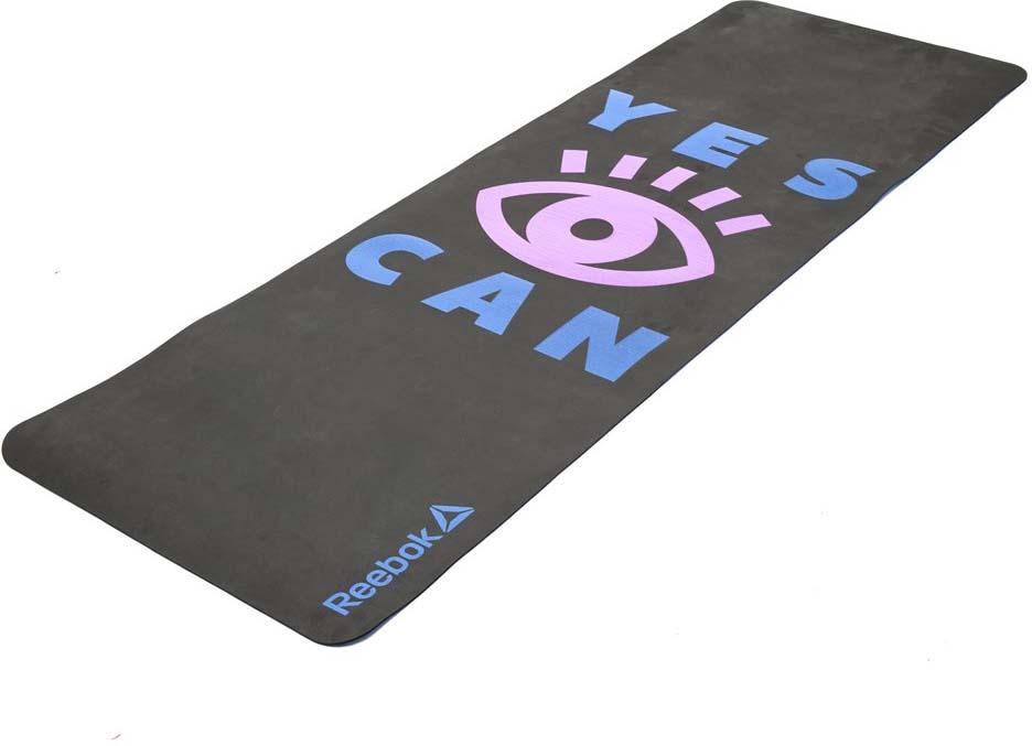 Коврик тренировочный Reebok Yoga Yes I Can, цвет: черный, толщина 4 мм, длина 173 см