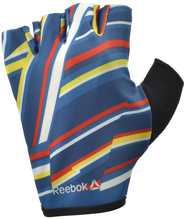Перчатки для фитнеса женские Reebok, цвет: синий, черный, размер M перчатки женские eleganzza цвет черный is0424 размер 8