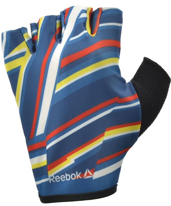 Перчатки для фитнеса женские Reebok, цвет: синий, черный, размер S
