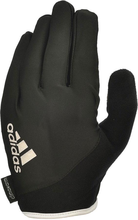 Перчатки для фитнеса Adidas Essential, с пальцами, цвет: черный, белый, размер M