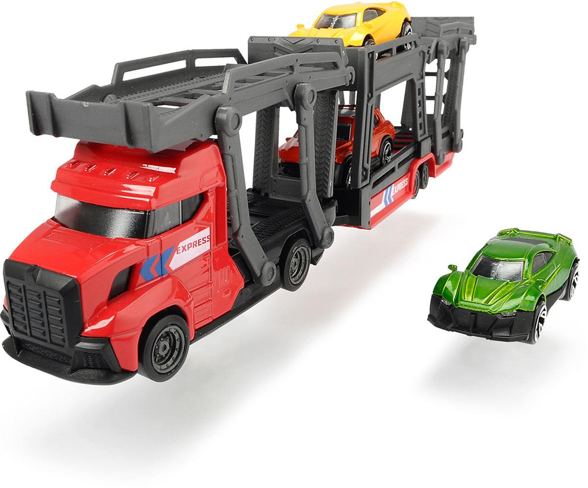 Автовоз Dickie Toys City, 28 см + 3 машинки junfa toys игровой набор автовоз и 5 машинок трансформеров цвет автовоза красный