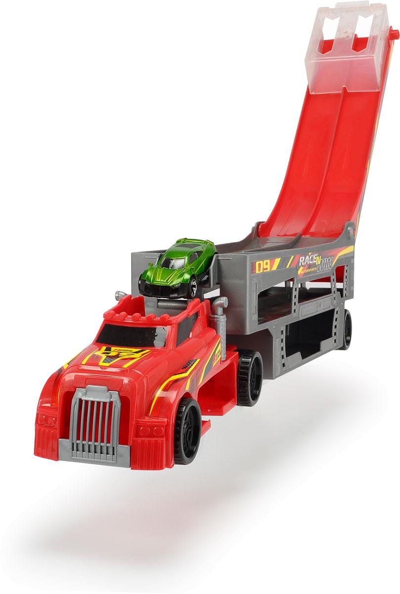 Автовоз Dickie Toys City, цвет: красный, 44,5 см + 1 машинка junfa toys игровой набор автовоз и 5 машинок трансформеров цвет автовоза красный