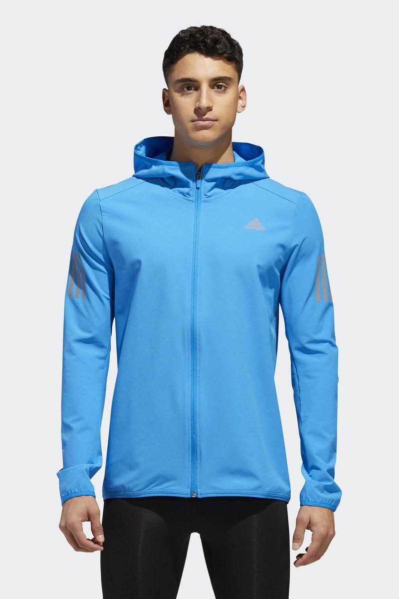 Ветровка мужская Adidas Response Jacket, цвет: голубой. CY5775. Размер XXL (60/62) пуховик мужской adidas helionic ho jkt цвет темно синий bq1998 размер xxl 60 62