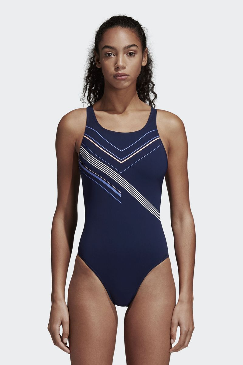 Купальник слитный женский Adidas Inf Ecs 1Pc, цвет: синий. DH2422. Размер 36 (42) adidas adidas компьютер рюкзак птица перо синий aj8528