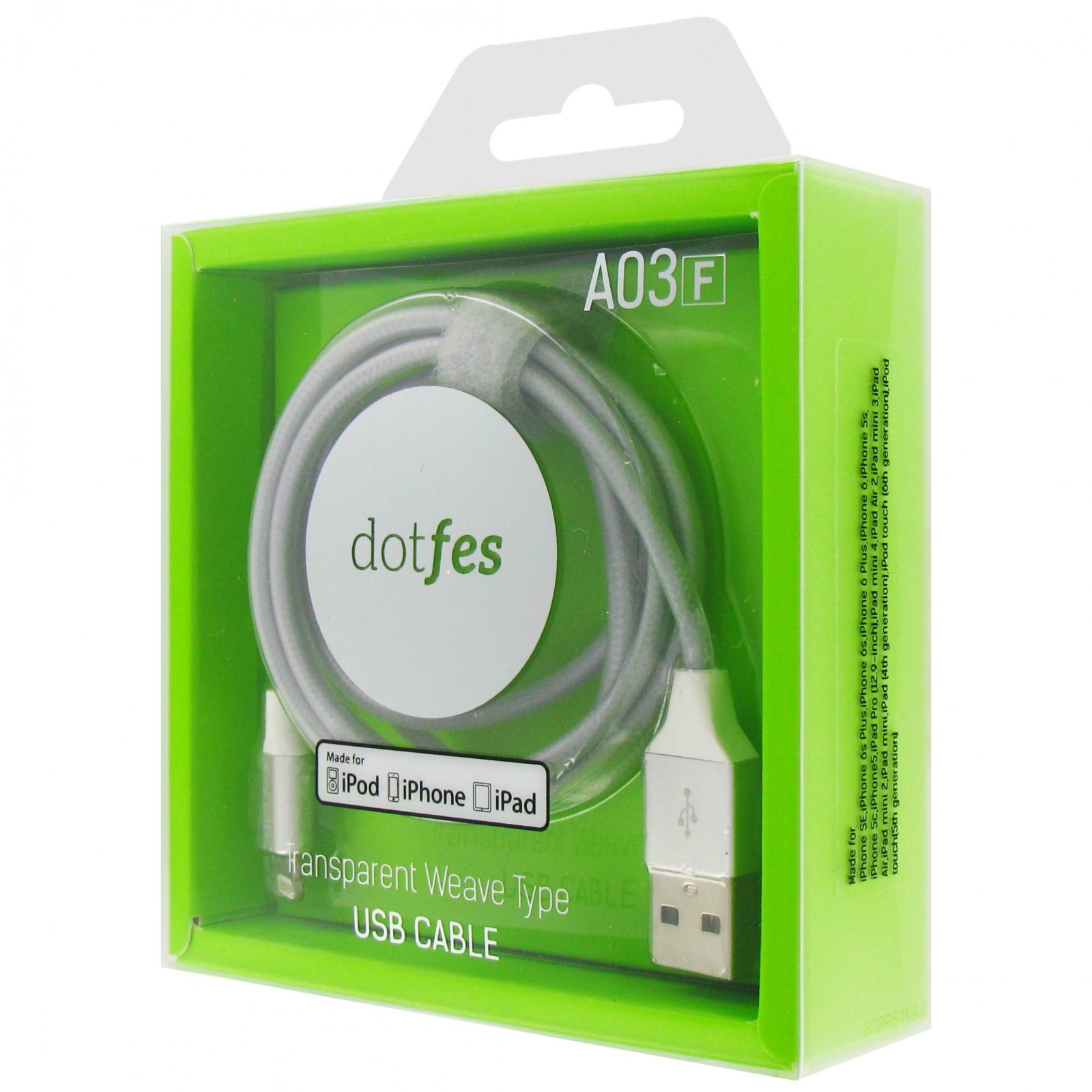 USB кабель Dotfes A03F Lightning MFI (1m), gray mfi lin shiung ihave 8 pin lightning charge
