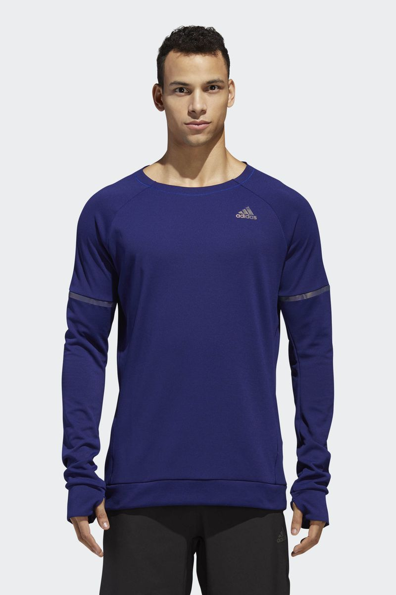 Лонгслив мужской Adidas Sn Run Cru M, цвет: синий. DN2485. Размер S (44/46) adidas сумка взр run belt rayred black grey
