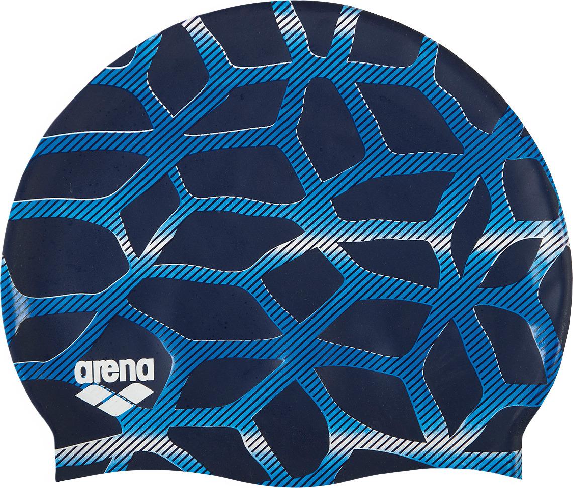 """Шапочка для плавания (силиконовая) Arena Print 2- комфортная мягкая шапочка для тренировок. Классическая плоская форма. Модель шапочки для плавания из силикона – самая распространенная как среди любителей, так и профессиональных пловцов. Она очень хорошо тянется, поэтому ее просто закрепить на голове. """"Мыльный"""" на ощупь материал препятствует склеиванию и прилипанию волос, облегчает снятие шапочки после использования. Силикон быстро сохнет, его не нужно посыпать тальком – достаточно после сеанса в бассейне сполоснуть шапочку в пресной проточной воде и высушить при комнатной температуре. Силиконовые шапочки довольно прочные, но длинные волосы лучше закреплять резинками, а не заколками. Силикон не вызывает аллергии и может использоваться людьми с чувствительной кожей."""