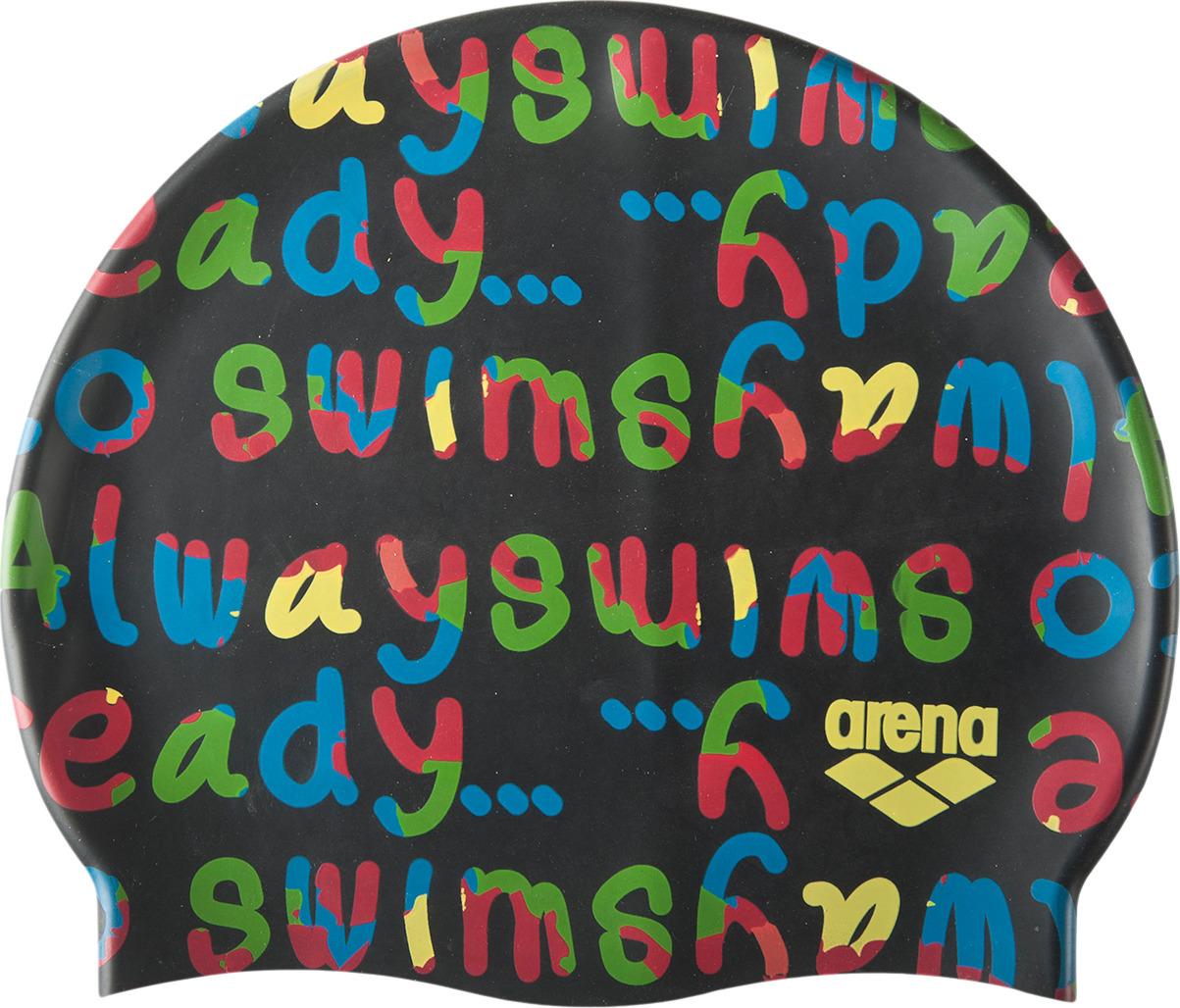 Шапочка для плавания детская Arena Print Jr, цвет: черный. 94171 510 шапочка для плавания arena polyester  цвет  темно синий