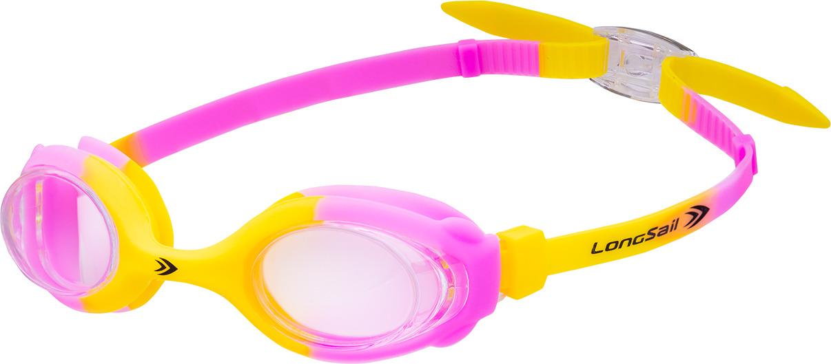 Очки для плавания детские Longsail Kids Crystal, цвет: желтый, розовый. L041231 очки плавательные детские larsen dr5