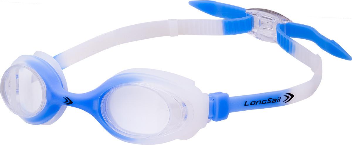 Очки для плавания детские Longsail Kids Crystal, цвет: голубой, белый. L041231 очки плавательные детские larsen ds204