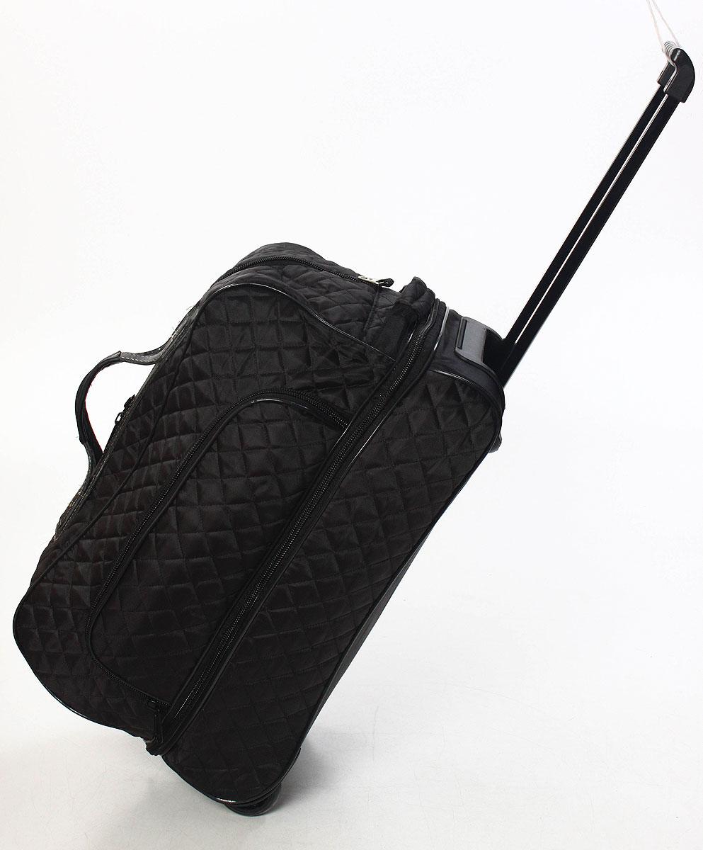 Сумка дорожная, на колесах, цвет: черный, 57 л