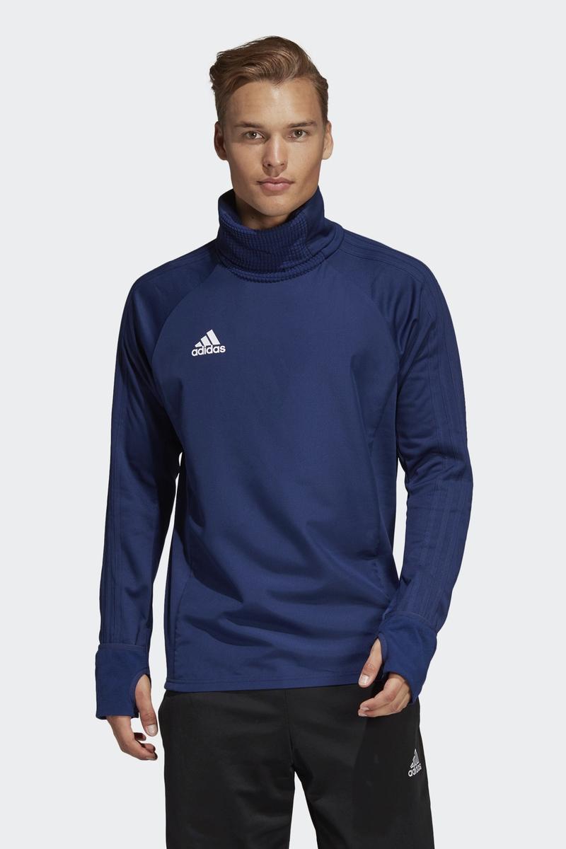 Толстовка мужская Adidas Con18 Wrm Top, цвет: голубой. CV8973. Размер XXL (60/62) толстовка мужская adidas regi18 tr top цвет черный cz8647 размер xxl 60 62