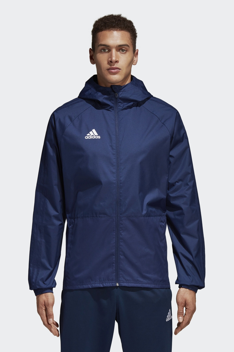 Ветровка мужская Adidas Con18 Rain Jkt, цвет: голубой. CV8267. Размер XXL (60/62) толстовка мужская adidas regi18 tr top цвет черный cz8647 размер xxl 60 62