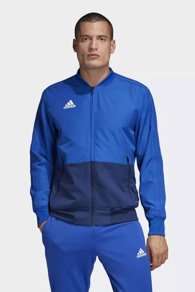 Ветровка мужская Adidas Con18 Pre Jkt, цвет: голубой. CF4309. Размер 3XL (64/66) ветровка мужская adidas con18 rain jkt цвет черный bq6528 размер l 52 54