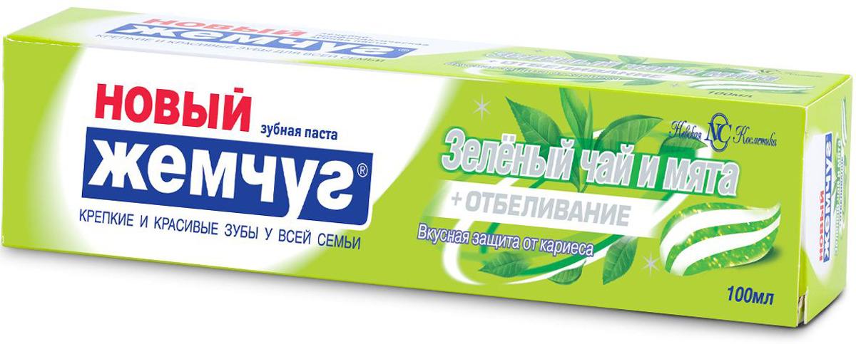 Зубная паста Новый Жемчуг Зеленый чай и мята + отбеливание, 100 мл невская косметика новый жемчуг зубная паста детская от 1 до 6 лет апельсин 50 мл