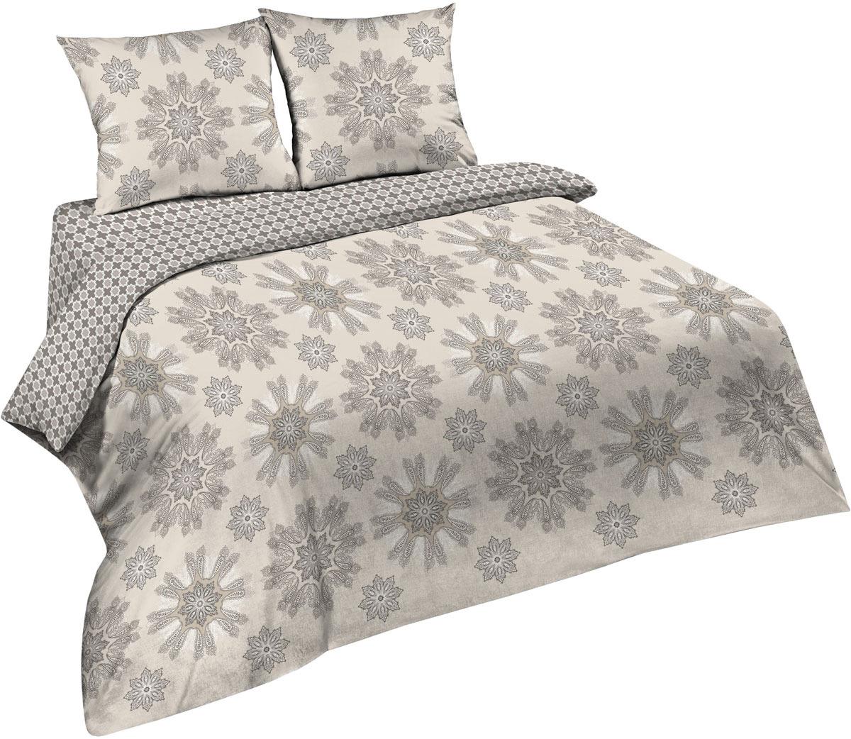 Комплект постельного белья Павлина Простые вещи, евро, наволочки 70x70, цвет: серый комплект постельного белья павлина простые вещи евро наволочки 70x70 цвет коричневый