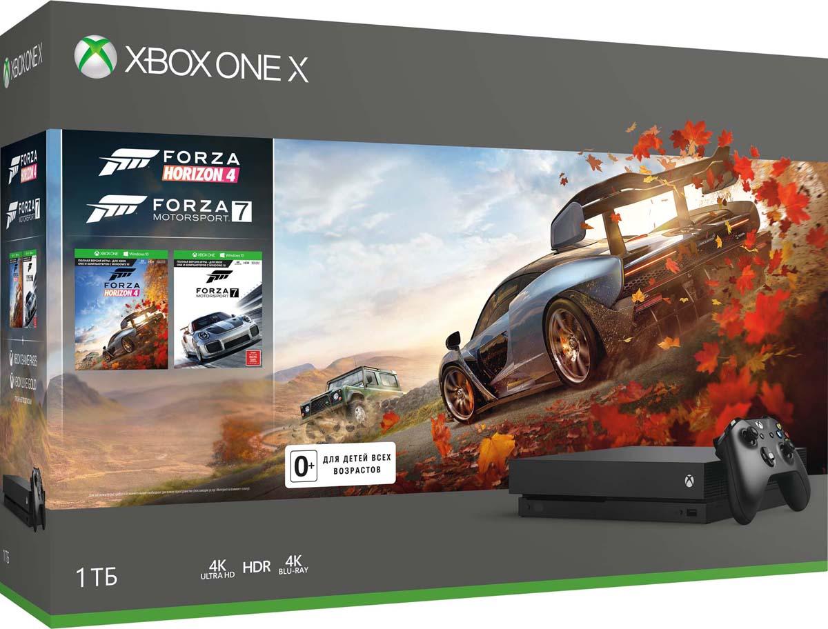 Игровая приставка Xbox One X 1 ТБ + Forza Horizon 4 + Forza Motorsport 7 игровая приставка xbox one s 1 тб игровой абонемент на 3 месяца xbox live карта подписки 3 месяца