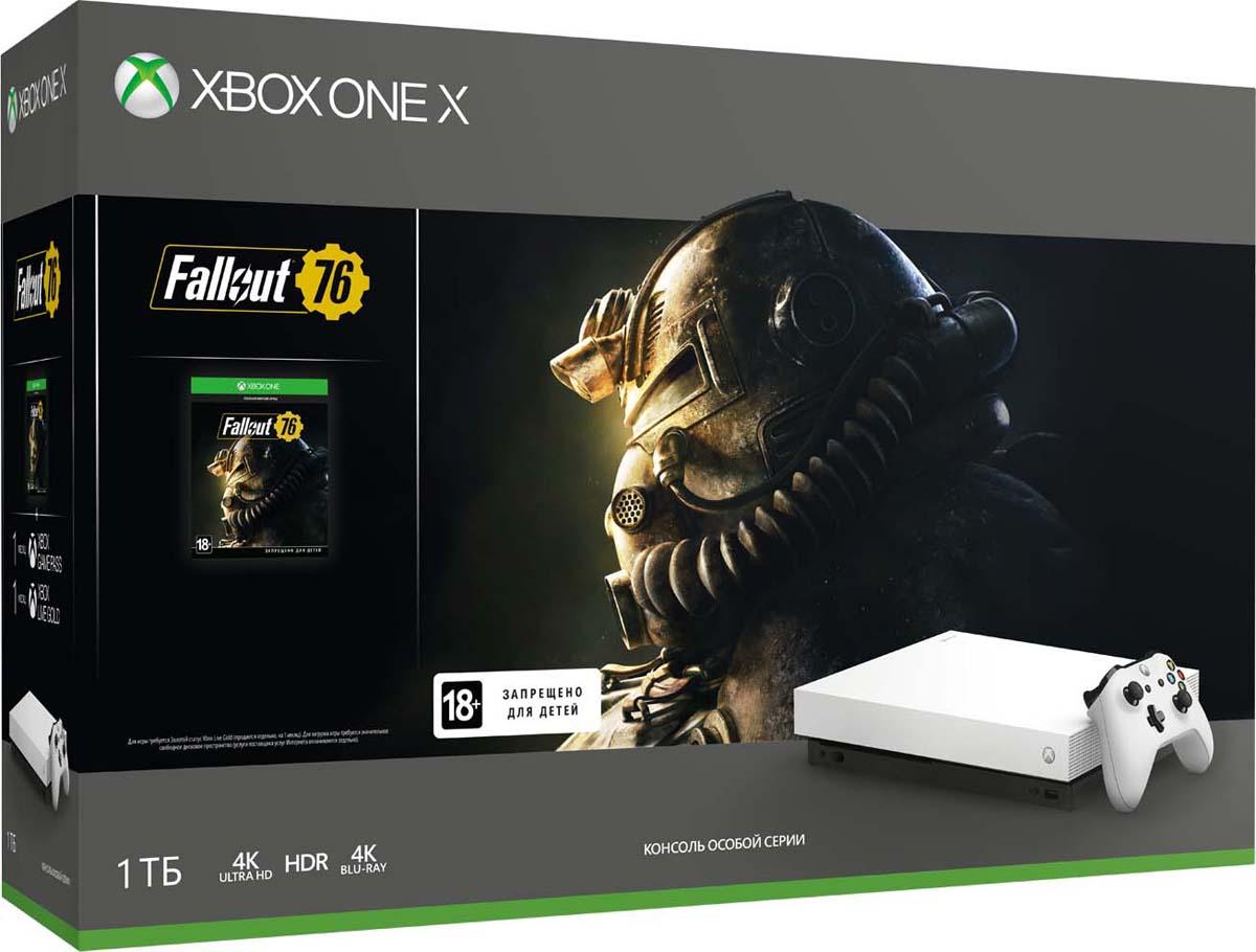 Игровая приставка Xbox One X 1 ТБ, White + Fallout 76 xbox