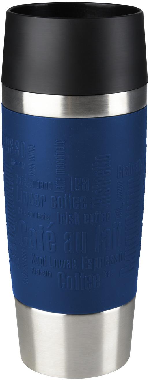 """Термокружка Emsa """"Travel Mug"""" - это идеальный попутчик в дороге - не важно, по пути ли на работу, в школу или во время похода по магазинам. Вакуумная кружка на 100% герметична. Кружка имеет вакуумную колбу из нержавеющей стали с двойными стенками, благодаря чему температура жидкости сохраняется долгое время. Кружку удобно держать благодаря силиконовому покрытию Soft Touch с оригинальным рельефом в виде надписей. Изделие открывается нажатием кнопки. Пробка разбирается и превосходно моется. Дно кружки выполнено из противоскользящего материала.  Можно мыть в посудомоечной машине.  Диаметр кружки по верхнему краю: 8 см. Диаметр дна кружки: 6,5 см. Высота кружки: 20 см. Сохранение холодной температуры: 8 ч. Сохранение горячей температуры: 4 ч."""
