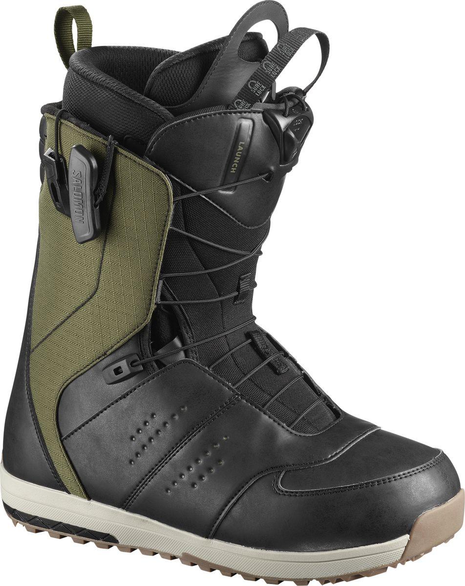 Ботинки для сноуборда мужские Salomon Launch, цвет: оливковый, черный. Размер 47,5