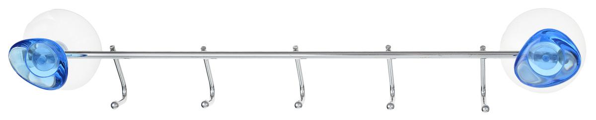Планка Axentia Amica, на присосках, 5 крючков, цвет: прозрачный, стальной, длина 35 см часы amica