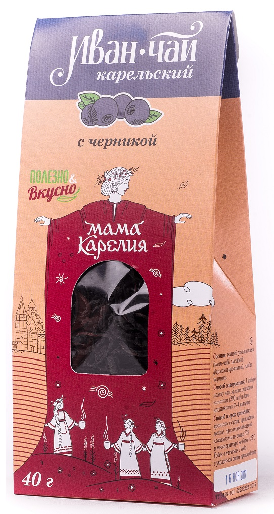 Чай листовой Мама Карелия Иван-чай Карельский, с черникой, 50 г иван чай с мелиссой 50 г