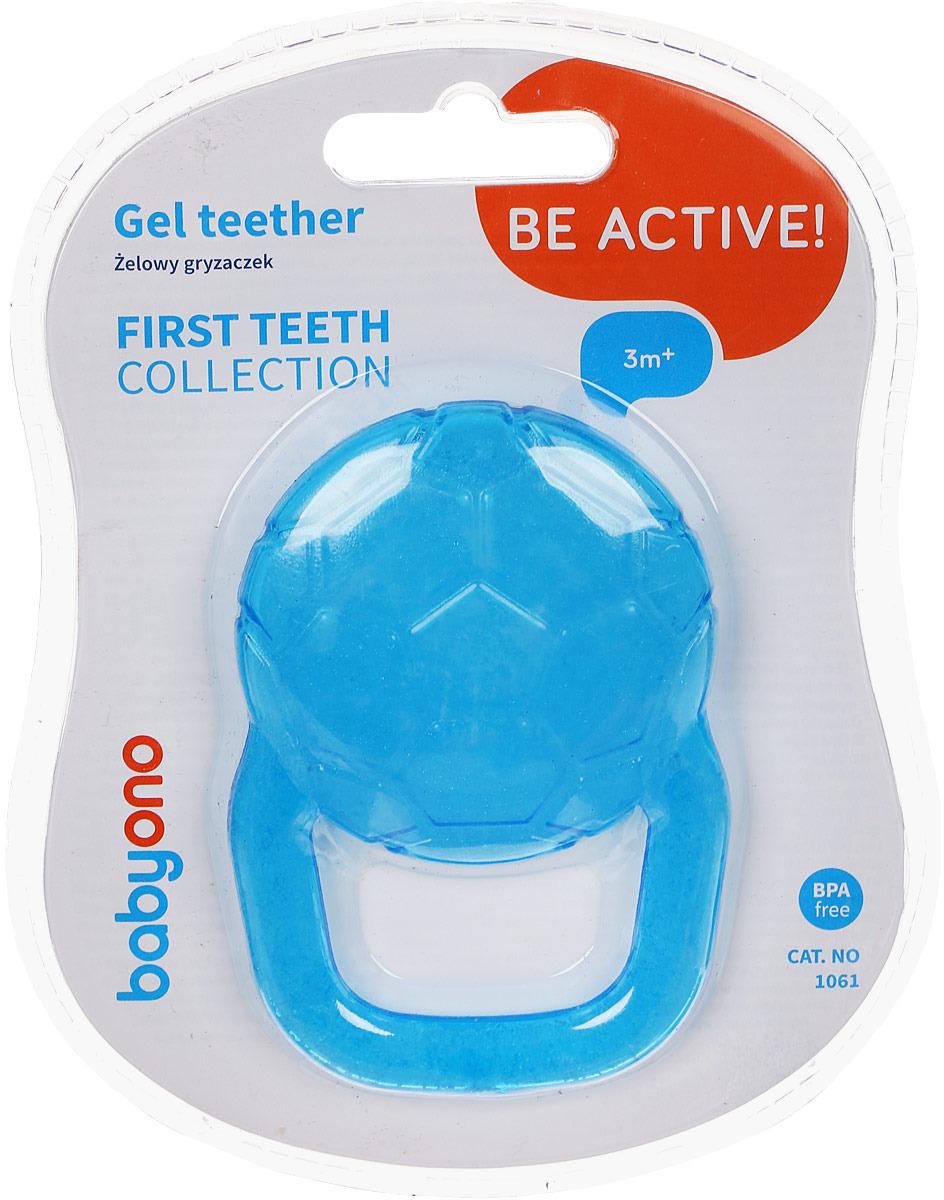 Прорезыватель охлаждающий BabyOno Мяч, цвет: голубой погремушки babyono прорезыватель черепашка