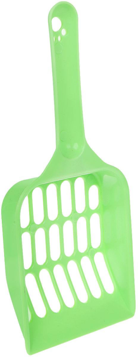 Совок V.I.Pet для кошачьего туалета, цвет: салатовый, длина 20 см совок для кошачьего туалета marchioro pala 11