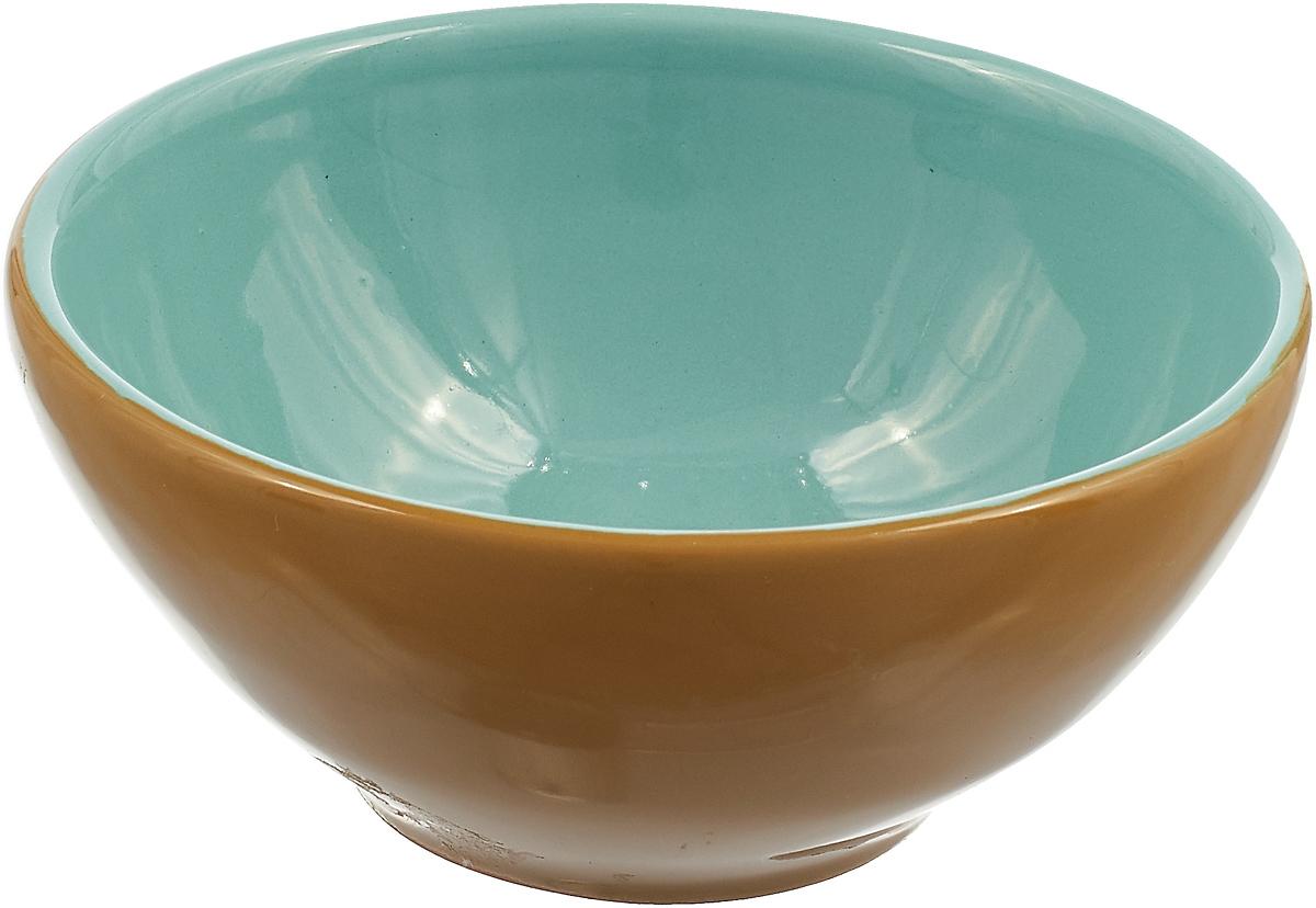 Розетка для варенья Борисовская керамика Радуга, цвет: горчичный, бирюзовый, 200 мл платье olegra цвет горчичный