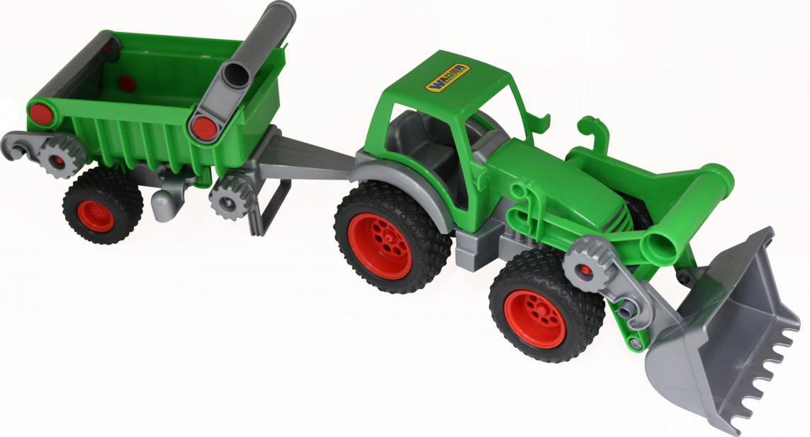 Трактор-погрузчик Полесье Фермер-техник, с полуприцепом полесье трактор мастер с полуприцепом лесовозом цвет синий желтый красный