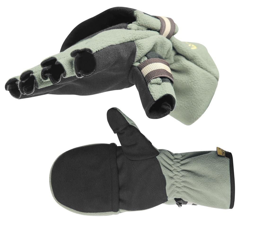 Перчатки-варежки для рыбалки мужские Norfin Nord, цвет: зеленый, серый. 703080. Размер XL (10) перчатки без пальцев шерстяные с рисунком розовые