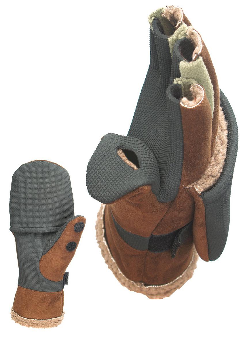 Перчатки-варежки для рыбалки мужские Norfin Aurora, цвет: бежевый, коричневый. 703025. Размер L (9)