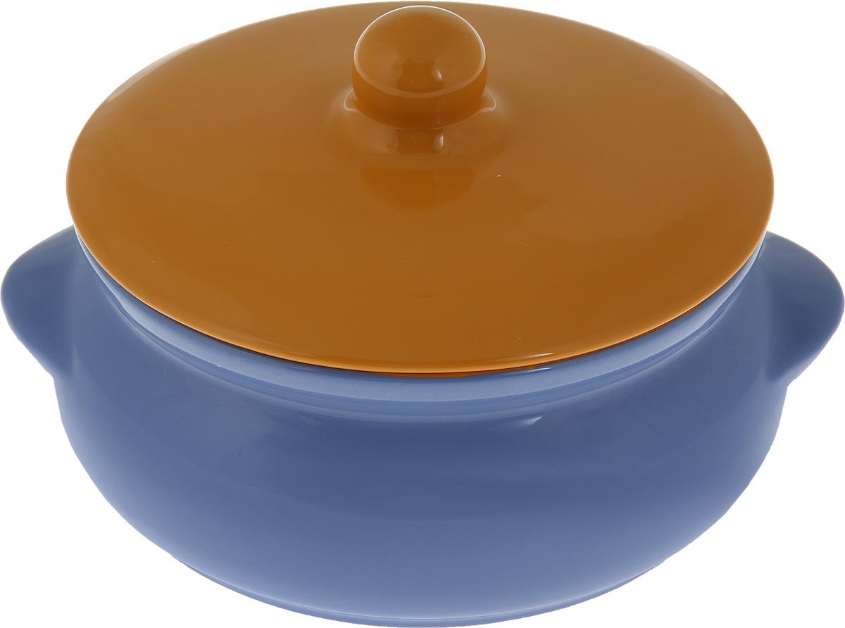 Горшок для запекания Борисовская керамика Радуга, с крышкой, цвет: синий, желтый, 700 мл kosta урна с крышкой керамика