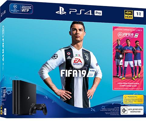 Игровая приставка Sony PlayStation 4 Pro (1TB), Black (CUH-7108В) + Fifa 19 CUH-7108B