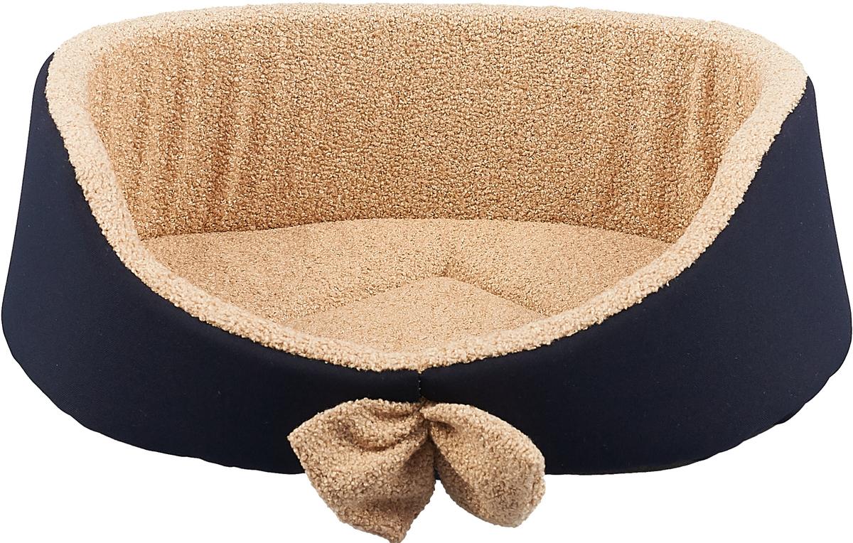 Лежак для собак GLG Малютка, цвет: темно-синий, бежевый, 37 х 30 х 11 см лежак для собак rogz luna podz цвет розовый 25 х 52 х 38 см