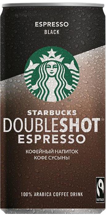 Кофейный стерилизованный напиток 0% Starbucks Doubleshot Espresso Black, 200 мл starbucks frappuccino mocha молочный кофейный напиток 1 2