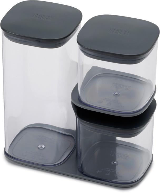 Набор из 3-х емкостей для хранения незаменим на кухне. Он помогает поддерживать порядок и компактно хранить сыпучие продукты под рукой. Подставка экономит пространство позволяет легко достать нужный контейнер.  Особенности и преимущества: - герметичные крышки сохраняют свежесть продуктов - стильный дизайн и практичная конструкция - подходит для широкого круга продуктов.  Объемы и размеры: 1,3 л (10см х 20,5см х 10см), 600 мл (10см х 9,5см 10см) (2 контейнера).