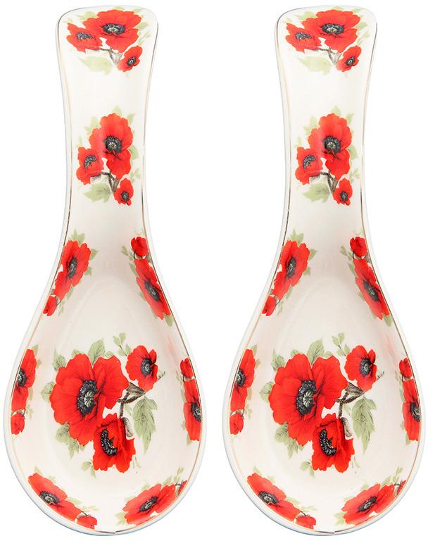 Подставка под ложку Elan Gallery Маки, цвет: белый, красный, 21 х 8 х 3 см, 2 шт подставка под ложку elan gallery белый шиповник