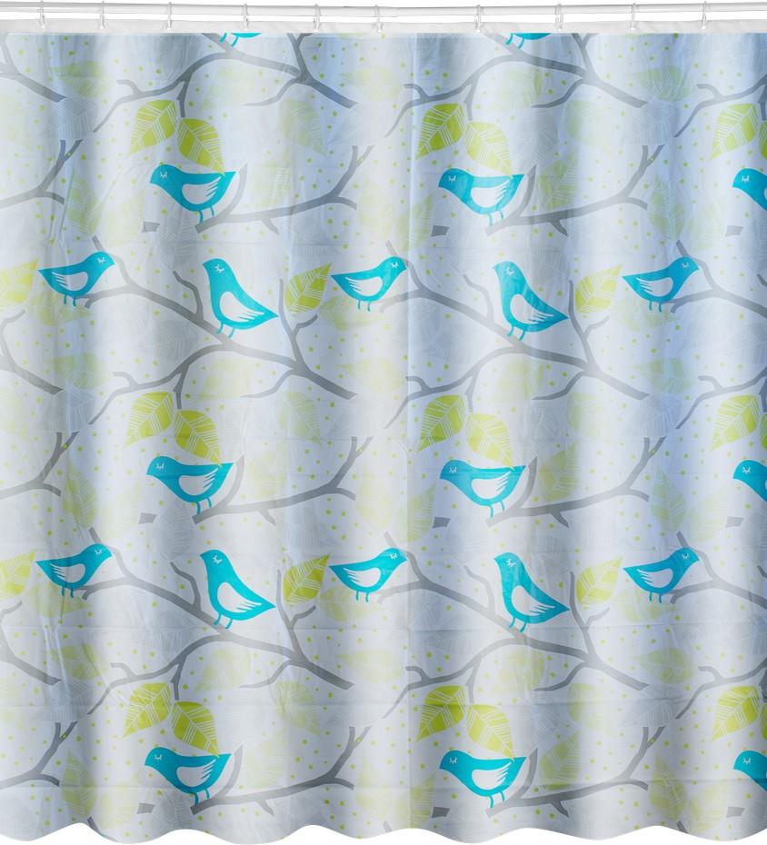 Штора для ванной комнаты Bluebirds — необходимый атрибут интерьера, защищающий помещение от брызг воды и мыльной пены. Изделие выполнено из инновационного материала PEVA, устойчивого к отсыреванию и не выделяющего токсичных веществ. Полимерная ткань обладает стопроцентной водонепроницаемостью, эластична, не деформируется и не дает усадки. Штора укомплектована пластмассовыми кольцами для фиксации изделия на штанге.