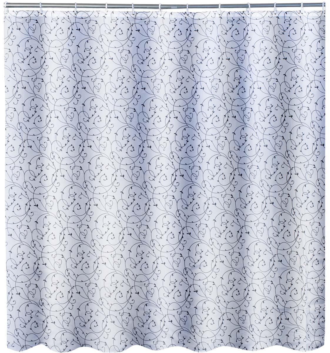 Штора для ванной комнаты обработана высококачественной пропиткой, что повышает ее водоотталкивающие свойства. Имеет 12 пластиковых колец, плотность ткани 70 гр/кв.м. По нижнему краю занавески расположена утяжеляющая полоска, не позволяющая занавеске мяться. В комплекте 12 колец.
