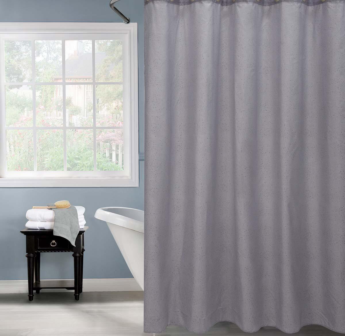 Штора для ванной комнаты Salvo из 100% полиэстера выполнена в стальном оттенке. Красивые вышитые узоры из страз создают приятный внешний вид. Материал очень качественный, не поддается воздействию света и влаги, а высокая экологичность обезопасит от любых аллергических реакций. Изделие защищено от мелких механических повреждений, не рвется и не собирает пыль. Штора не требует кропотливого ухода и легко стирается при температуре воды в 30 °C. Штора снабжена 12 металлическими люверсами, которые не ржавеют и надежно крепятся к шторке.