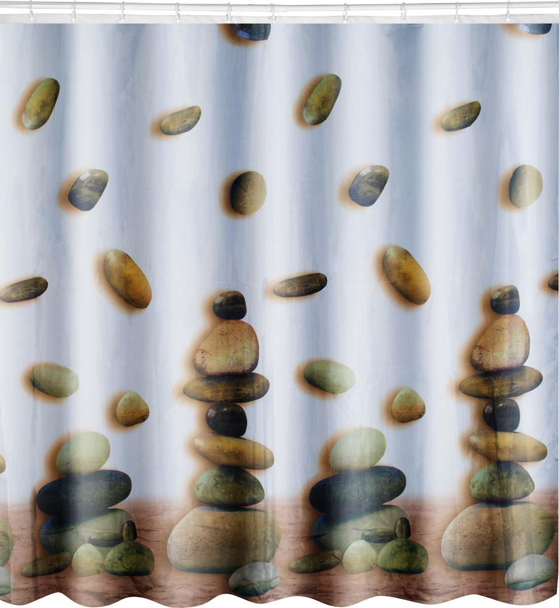 Штора для ванной комнаты Torre одновременно выполняет практическую и декоративную функции. Дизайн шторы - рисунок в виж=lе камней. Плотная занавеска из полиэстера препятствует попаданию капель воды и мыльной пены на пол и коврик возле ванны, обеспечивает комфортное ощущение во время принятия душа. Материал обработан гидрофобной пропиткой, легко выдерживает прямой напор водных струй. Изделие образует красивые мягкие складки, зрительно не уменьшает пространство.