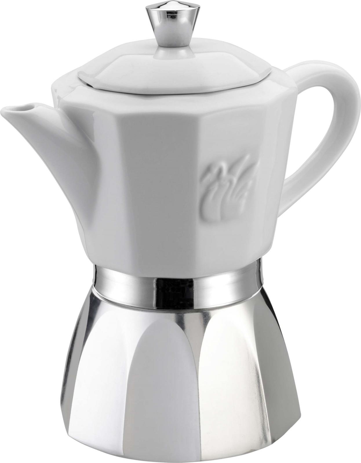 Кофеварка гейзерная G.A.T. 01-120-04 CHIC. Кофеварка рассчитана на 4 чашки. За считанные минуты прибор приготовит ваш любимый напиток и моментально наполнит кухню изумительным ароматом. Прочная основа придает кофеварке легкость и надежность, а стильный дизайн добавит кухонному интерьеру элегантности и особого шарма. Основные отличительные особенности кофеварок Chic: удобный носик для наливания кофе, специальное внутреннее покрытие, обеспечивающее легкую очистку и обслуживание, емкость для кофе из фарфора, кофеварка подходит для использования на всех типах плит, в том числе и индукционных.