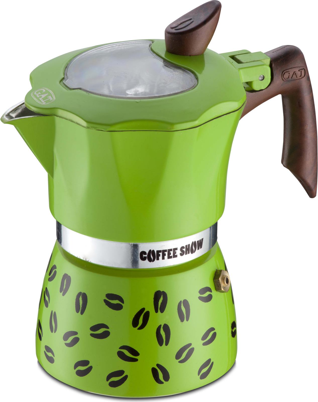 Кофеварка гейзерная G.A.T. 104606 COFFEE SHOW. Кофеварка рассчитана на 6 чашек. За считанные минуты прибор приготовит ваш любимый напиток и моментально наполнит кухню изумительным ароматом. Прочная алюминиевая основа придает кофеварке легкость и надежность, а стильный дизайн добавит кухонному интерьеру элегантности и особого шарма. Основные отличительные особенности кофеварок Coffee show: удобный носик для наливания кофе, стильный ремень, соединяющий верхнюю и нижнюю части кофеварки, специальное внутреннее покрытие, обеспечивающее легкую очистку и обслуживание, прозрачное окошко на крышке, позволяющее наблюдать за процессом приготовления, ручка из термостойкого пластика.