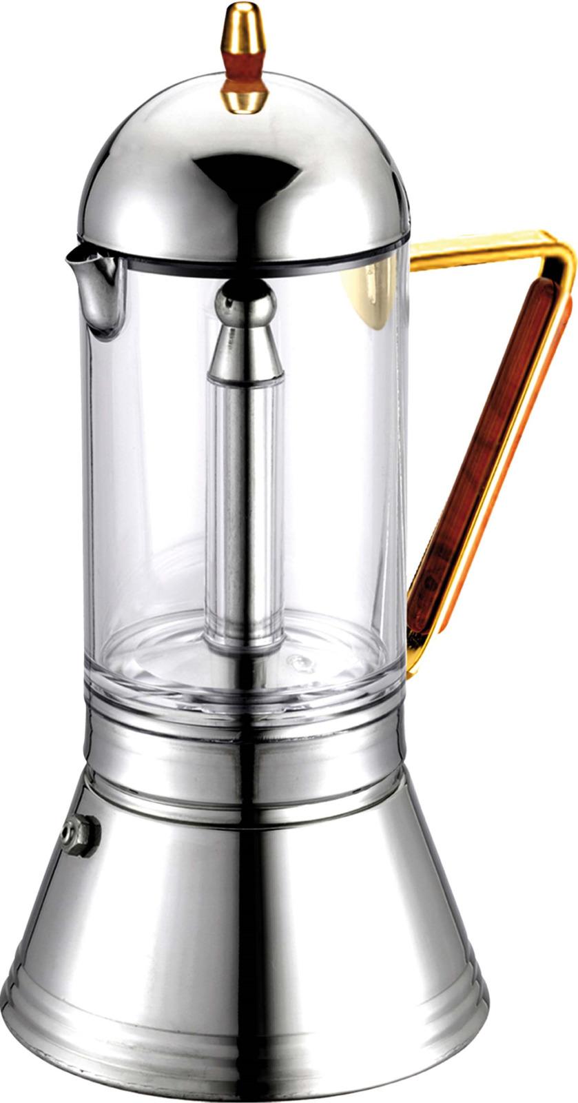 Кофеварка гейзерная G.A.T. 161404 CRYSTAL ORO на 4 чашки, нижняя емкость для приготовления кофе - нержавеющая сталь, верхняя емкость –стекло. Гейзерная кофеварка - это отличная возможность побаловать себя чашечкой великолепного ароматного кофе. За считанные минуты прибор приготовит ваш любимый напиток и моментально наполнит кухню изумительным ароматом. Прочная основа придает кофеварке легкость и надежность, а стильный дизайн добавит кухонному интерьеру элегантности и особого шарма. Основные отличительные особенности кофеварок Cristal: удобный носик для наливания кофе, специальное внутреннее покрытие, обеспечивающее легкую очистку и обслуживание, ручка с деревянной накладкой, стеклянная колба для готового кофе.