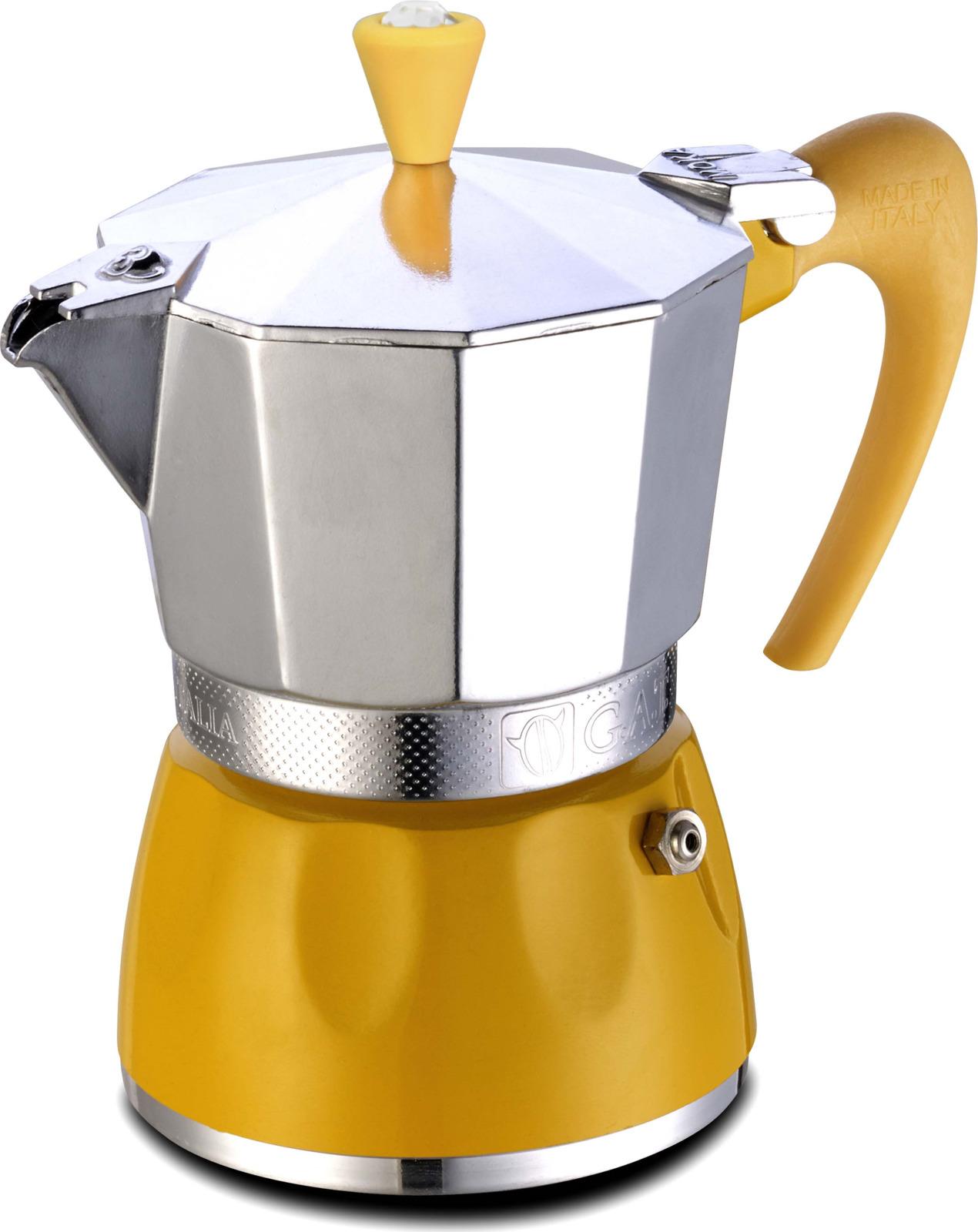 Кофеварка гейзерная G.A.T. 100002 DELIZIA. Гейзерная кофеварка - это отличная возможность побаловать себя чашечкой великолепного ароматного кофе. Кофеварка рассчитана на 2 чашки. За считанные минуты прибор приготовит ваш любимый напиток и моментально наполнит кухню изумительным ароматом. Прочная алюминиевая основа придает кофеварке легкость и надежность, а стильный дизайн добавит кухонному интерьеру элегантности и особого шарма. Основные отличительные особенности кофеварок Delizia: удобный носик для наливания кофе, стильный ремень, соединяющий верхнюю и нижнюю части кофеварки, специальное внутреннее покрытие, обеспечивающее легкую очистку и обслуживание, ручка из термостойкого пластика.